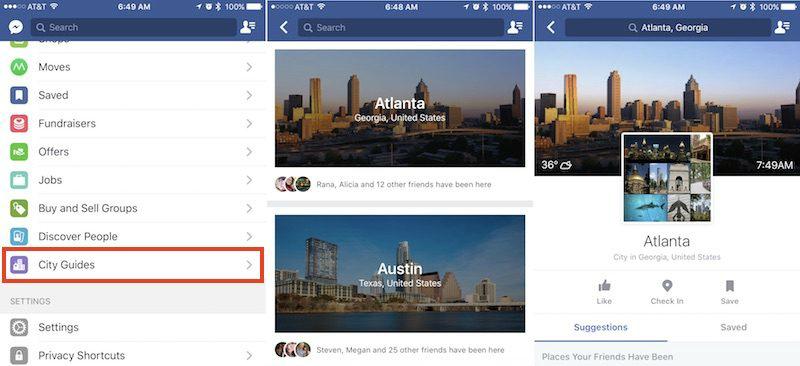 Городской путеводитель Facebook
