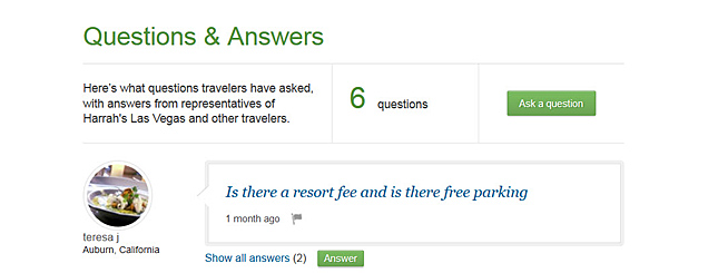 Question and Answers TripAdvisor