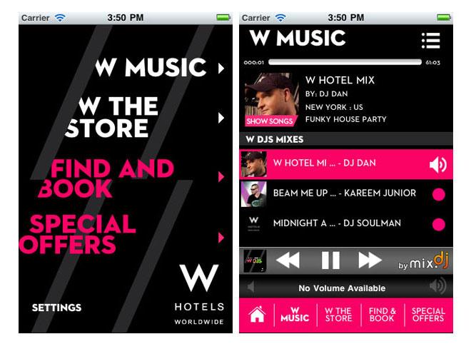 Мобильное приложение W Hotels