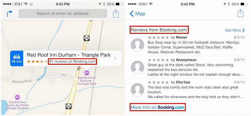 Apple Maps Booking.com