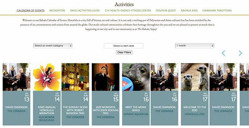 Календарь событий на сайте The Kahala Hotels & Resort