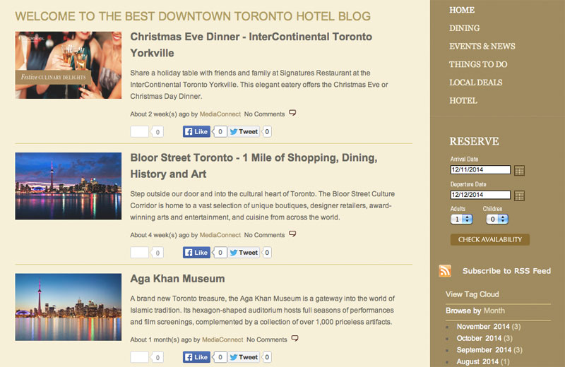 Блог отеля InterContinental Toronto Yorkville