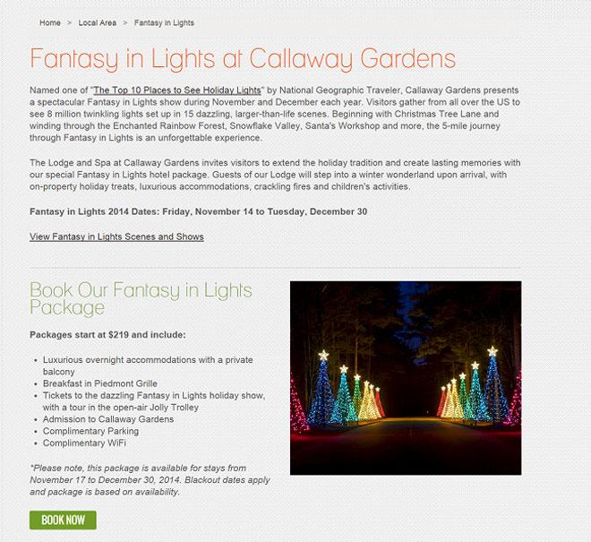 """Целевая страница с праздничным пакетом """"Fantasy in Lights"""""""