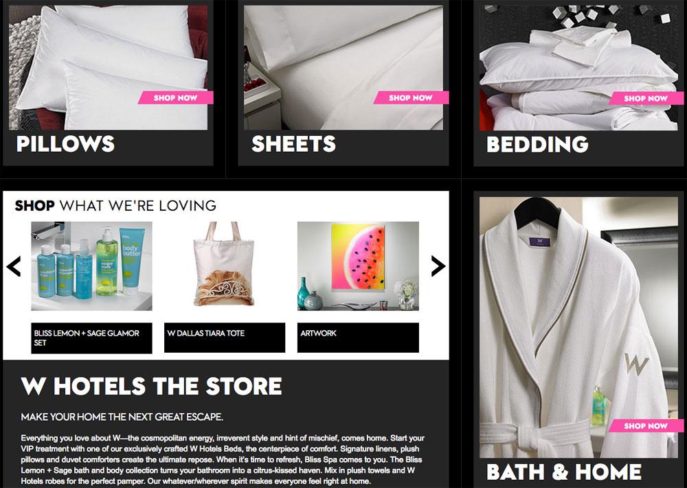 W-Hotels online-shop