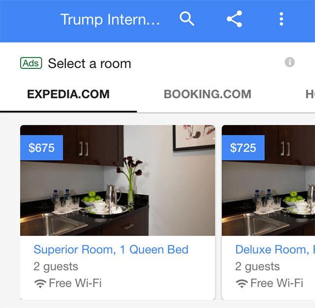 Google карусель для отелей
