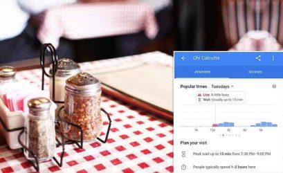 время ожидания в ресторане Google