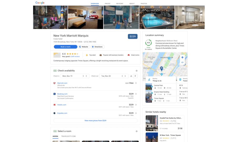 Встречайте: новый дизайн результатов поиска по отелям и курортам от Google