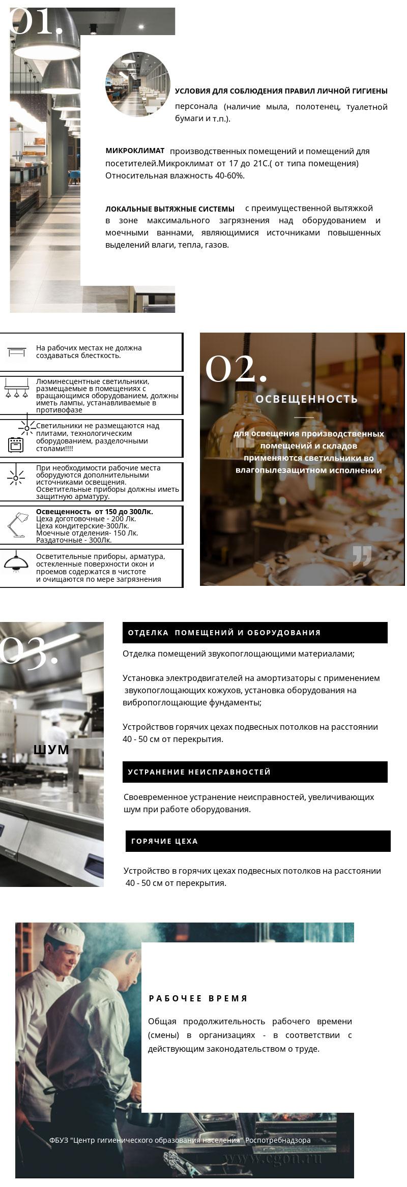 Требования к условиям работы в производственных помещениях предприятий общественного питания